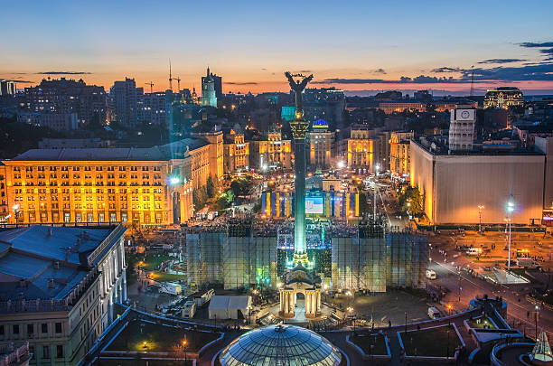 View of Independence Square (Maidan Nezalezhnosti) in Kiev, Ukraine stock photo