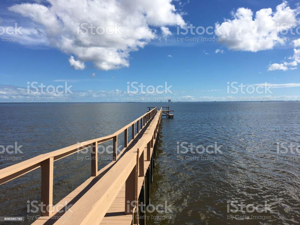 View of Indian River in Titusville, Florida stock photo