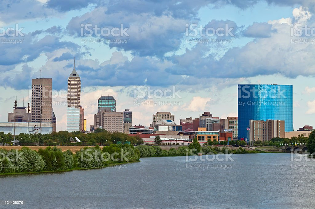 View of Indianapolis, Indiana skyline from river stock photo