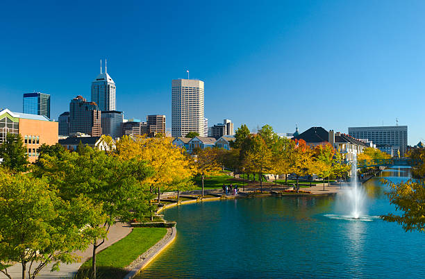 View of Indianapolis skyline and Canal Walk stock photo