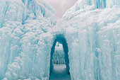 These are some of the tunnels and ice structures at a winter ice festival in Utah during the cold winter months.  Dripping and freezing water makes for some dramatic looking shapes and formations.  These passageways are carved through the layers of thick ice.