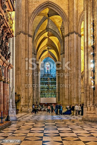 istock View of interior of cathedral of Seville in Andalusia, Spain. 1087907700