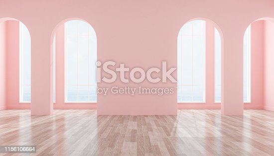 istock View of interior space with arch window design on sea view background,blank space of architecture with wood laminate floor. 3d rendering. 1156106664