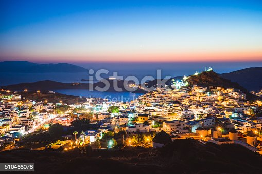 View of Ios, Greece during twilight