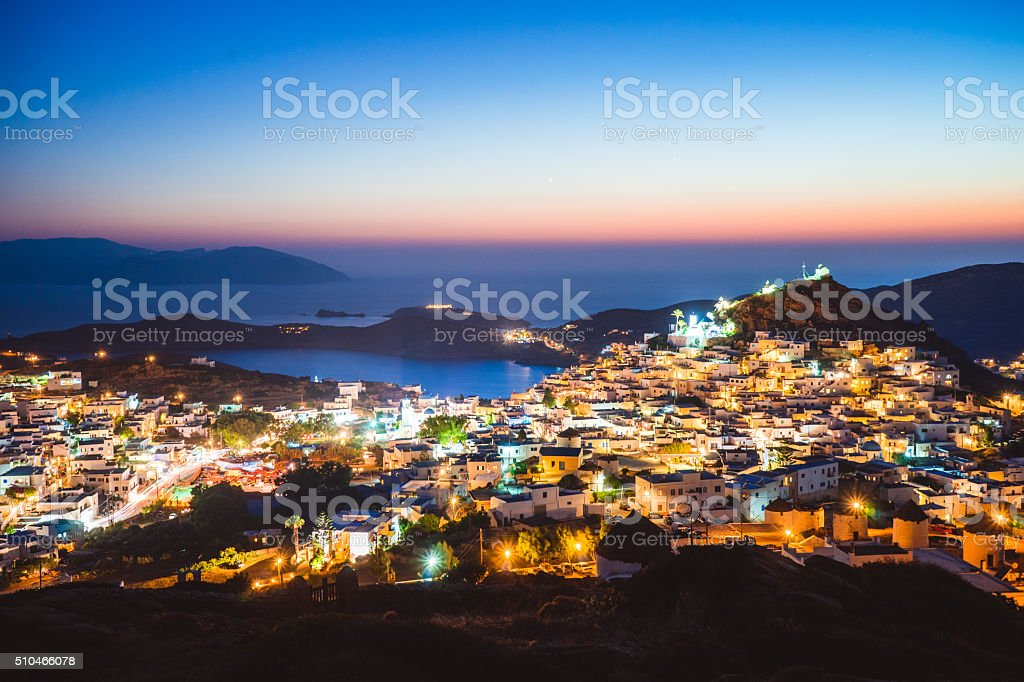 View of Ios, Greece during twilight stock photo