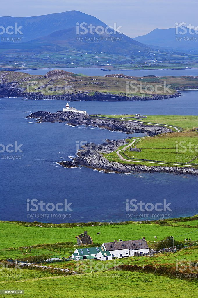 View of irish farmland, sea and a lighthouse stock photo