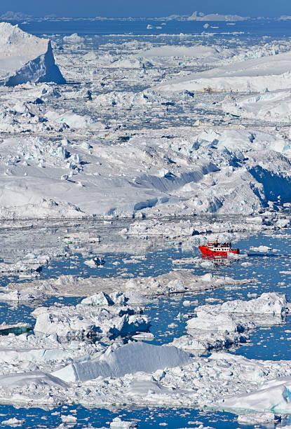 View of Isfjeldsbanken in Illulisat Greenland stock photo