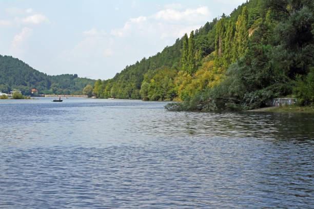 View of Iskar dam or Pancharevo lake in Bulgaria stock photo