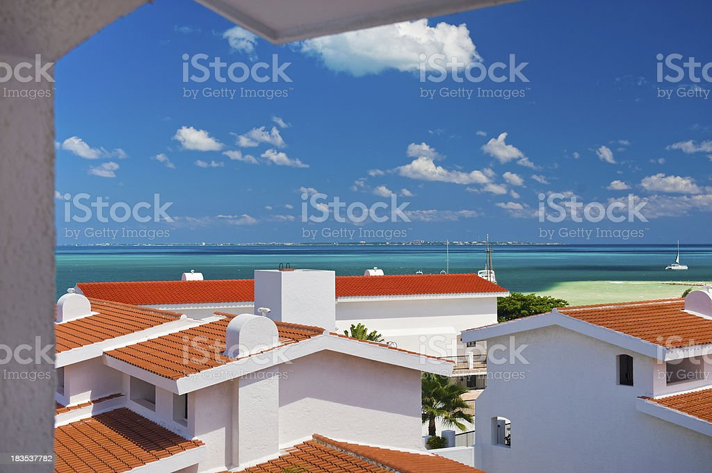 View of Isla Mujeres and Tropical Clear Water stock photo