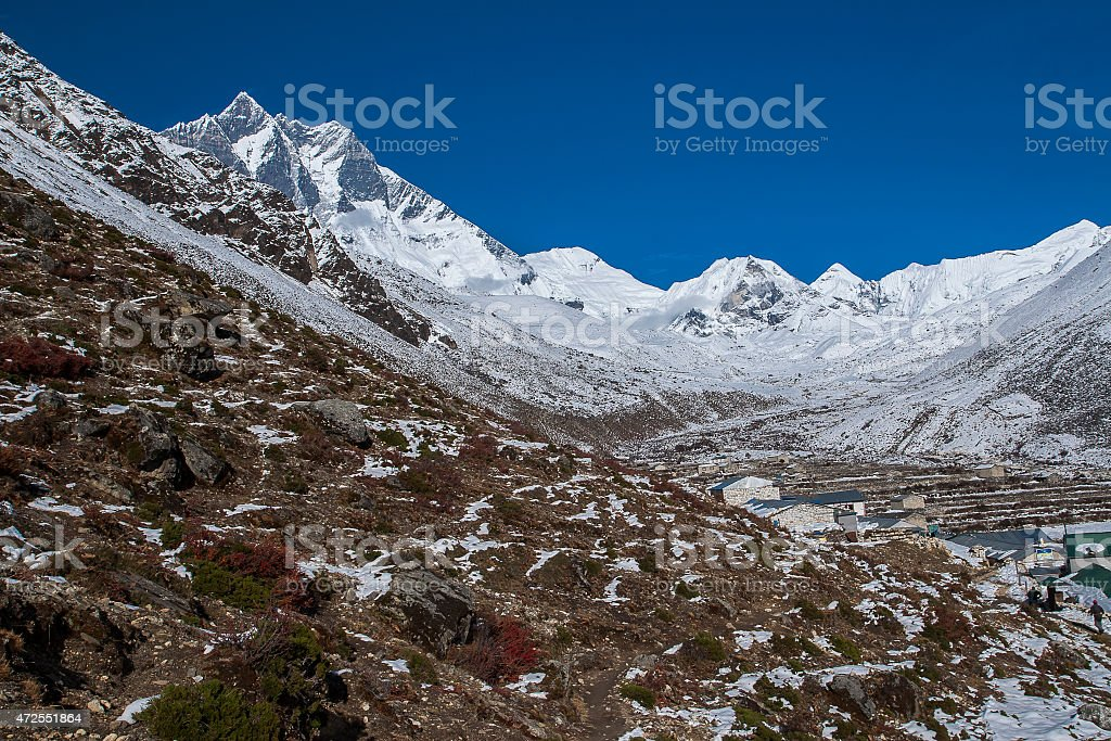 view of Island Peak and Lhotse stock photo