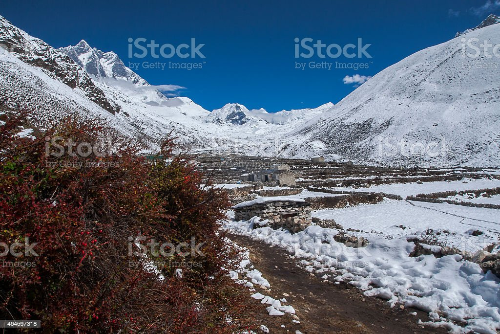 view of Island Peak in the village of Dingboche stock photo