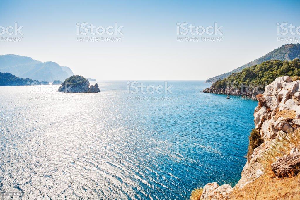 View of islands in Mediterranean Sea. Marmaris. Turkey stock photo