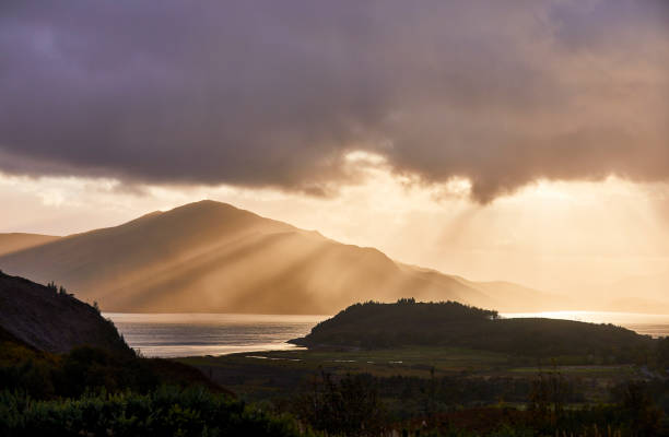View of isle of skye to the island from afar in Scotland. stock photo