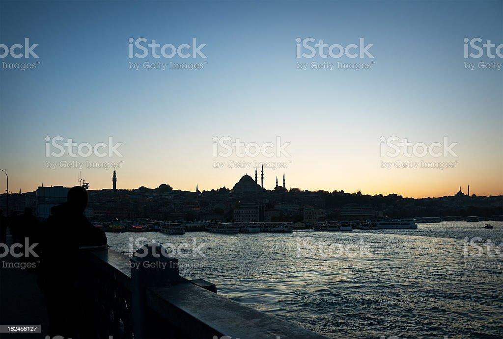 View of Istanbul Skyline from Galata Bridge royalty-free stock photo