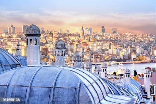 View of Istanbul, the Golden Horn Bay and the dome of the Hagia Sophia