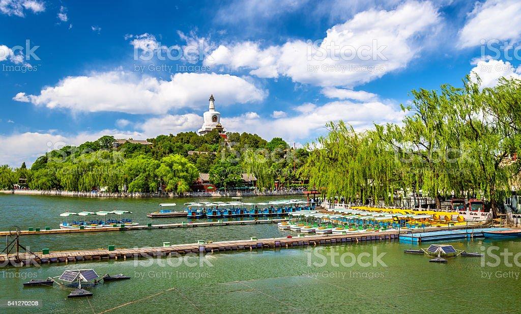 View of Jade Island with White Pagoda in Beihai Park stock photo