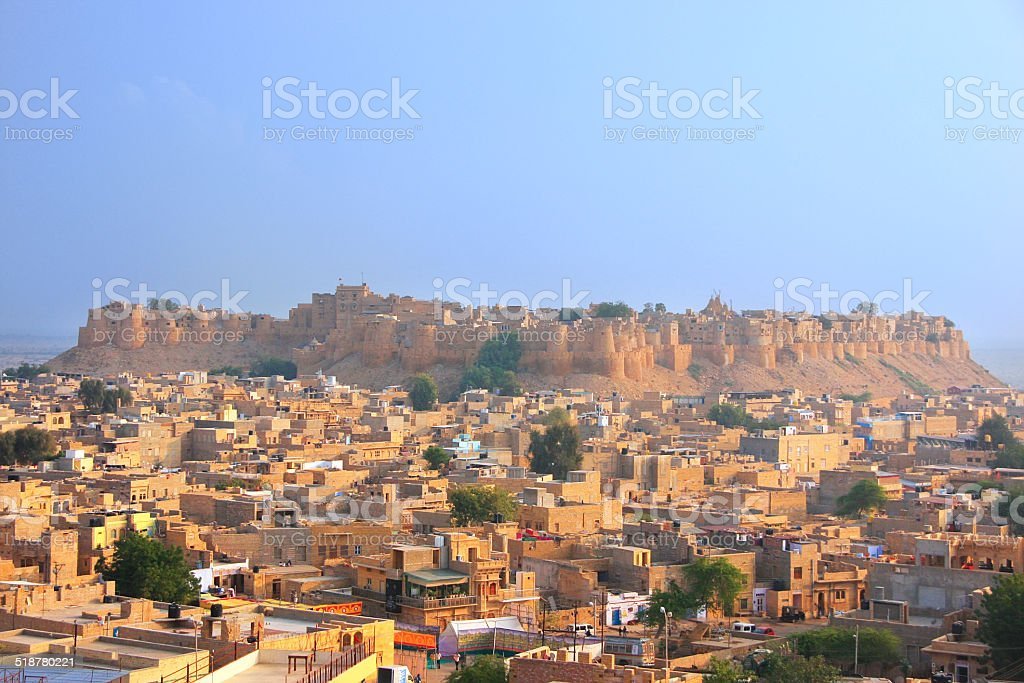 View of Jaisalmer fort and the city, India stock photo