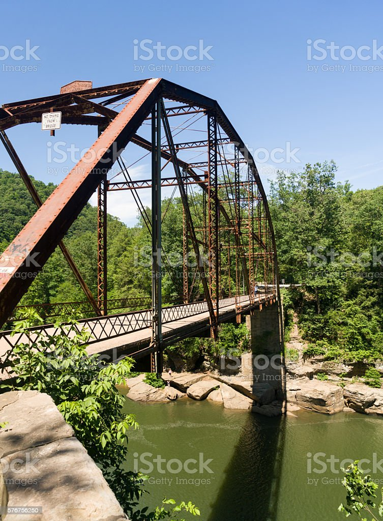 View of Jenkinsburg Bridge over Cheat River stock photo