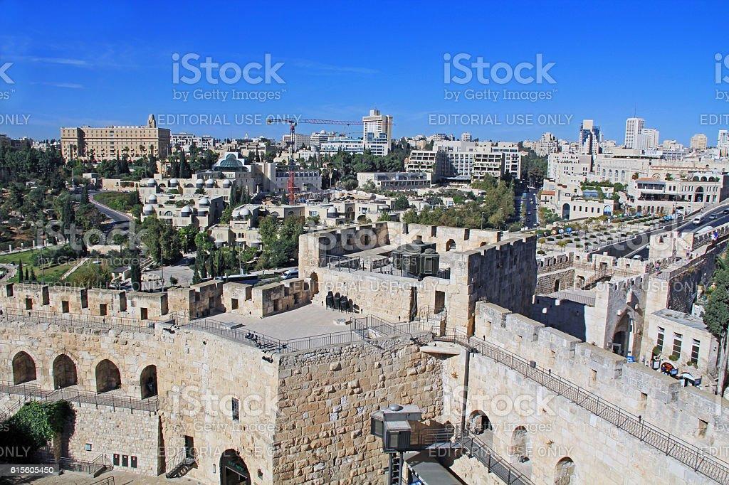 View of Jerusalem from the Jerusalem Citadel stock photo