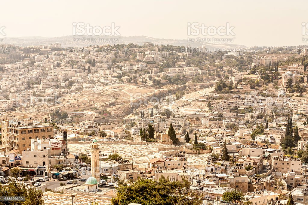View of Jerusalem from the Mount of Olives stock photo