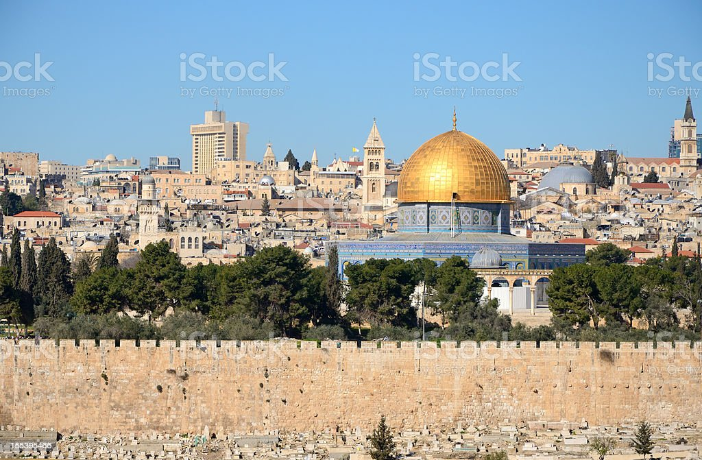 View of Jerusalem skyline from Mount of Olives stock photo