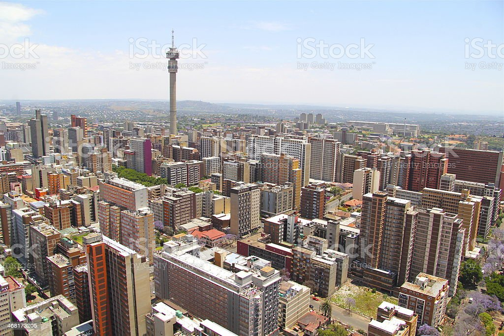 View of Johannesburg skyline on a sunny day stock photo