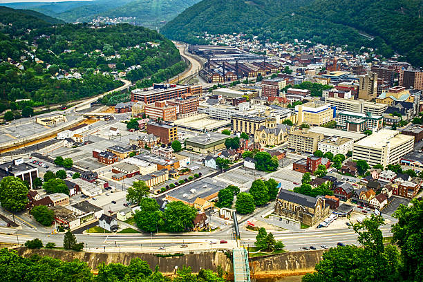 View of Johnstown in Cambria County, Pennsylvania stock photo
