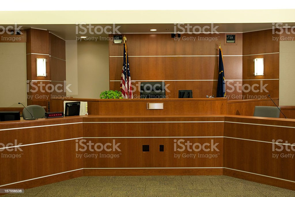 View of Judicial Bench in Modern Courtroom Setting stock photo