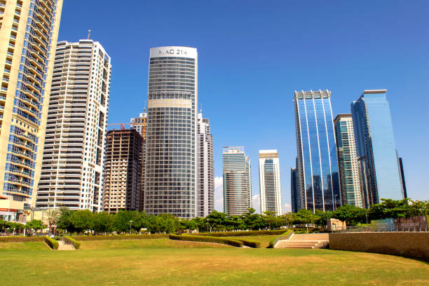 View of Jumeirah Lakes Towers buildings and park. stock photo