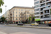 Berlin, Germany - June 16, 2013: View of Kaiser-Friedrich Street, Asian Supermarket and cafe Minh Trang