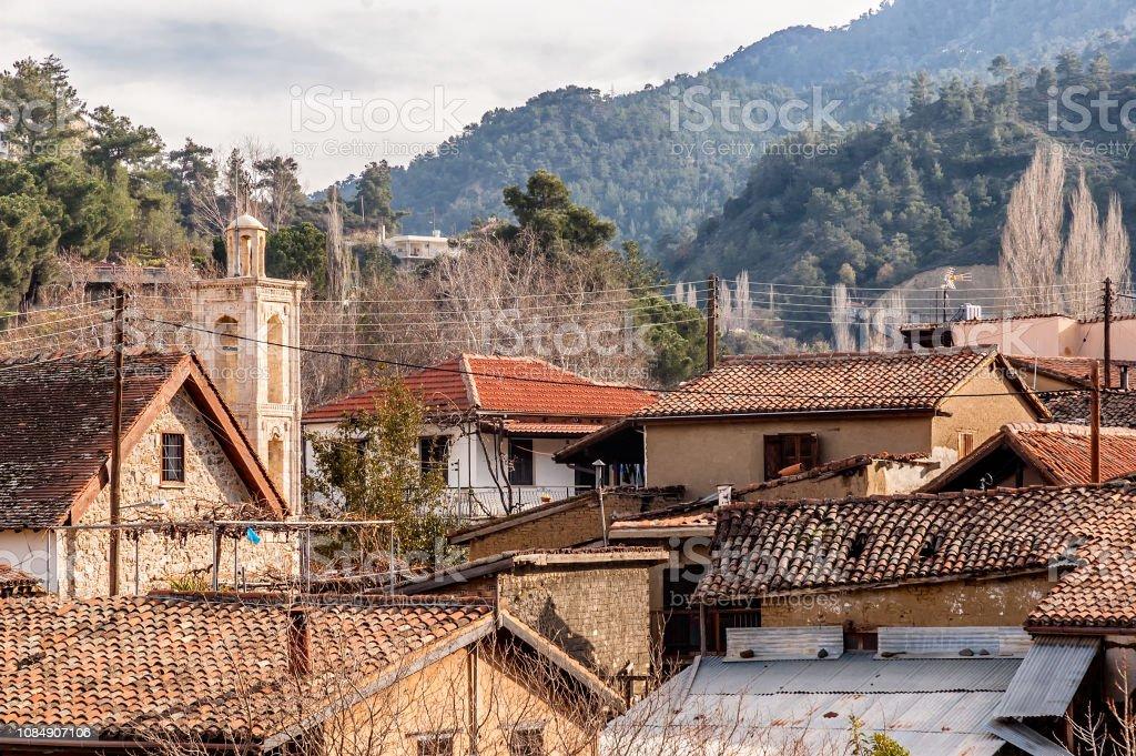 View of Kakopetria village at Troodos mountains. Nicosia District, Cyprus stock photo