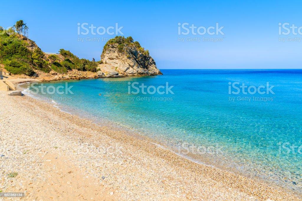 A view of Karlovasi beach with azure sea water, Samos island, Greece stock photo
