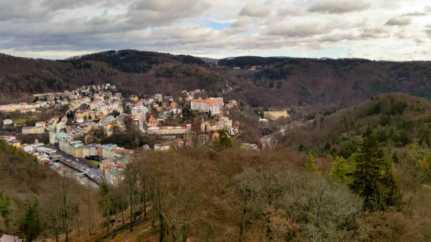 View of Karlovy Vary from above stock photo