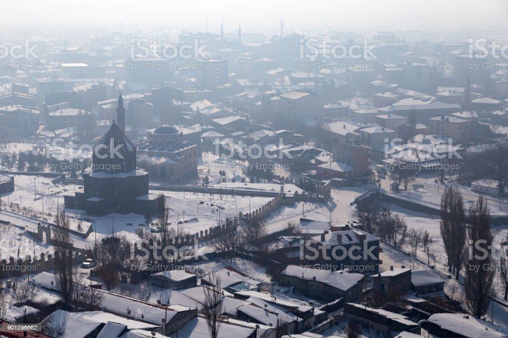 View of Kars, foggy day, Turkey stock photo