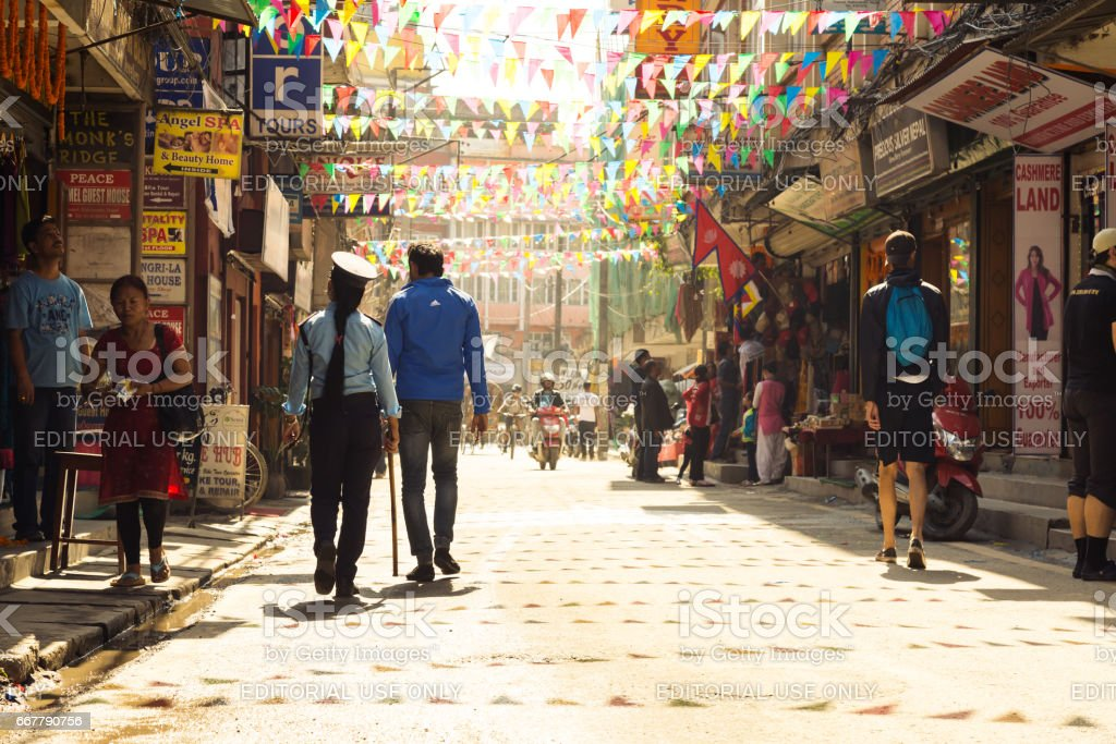 View of Kathmandu City Street and local and foreign People stock photo