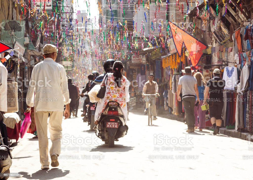View of Kathmandu City Street and local People and Tourists stock photo