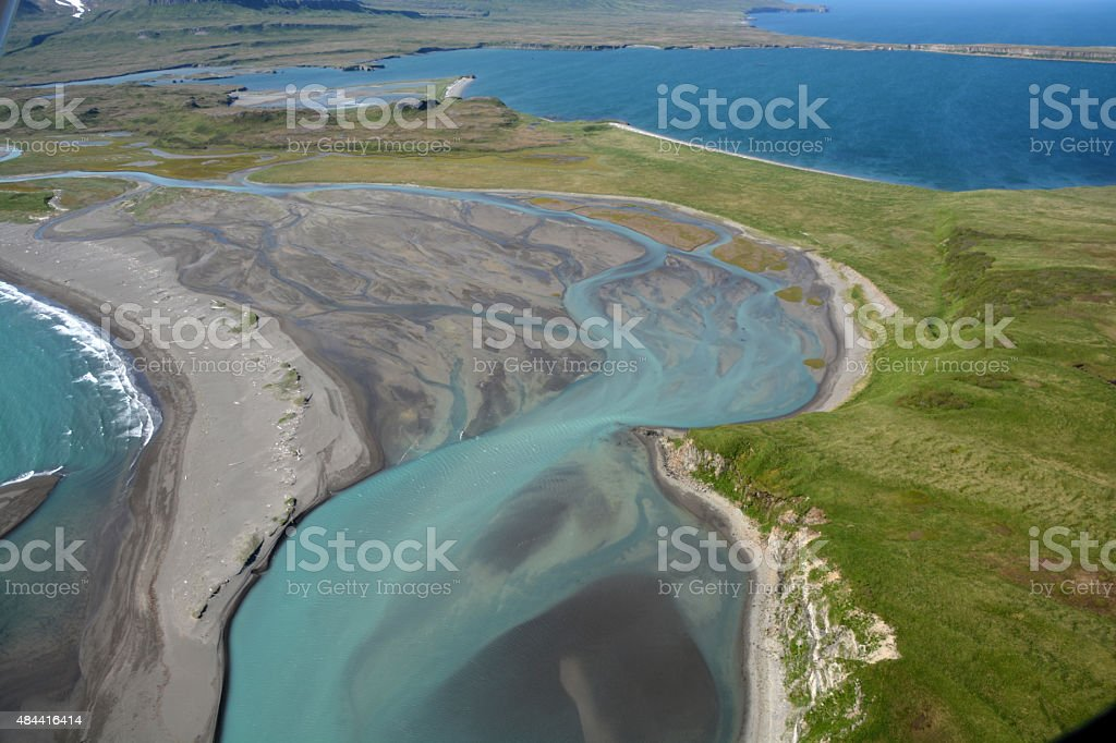 View of Katmai National Park from the air stock photo