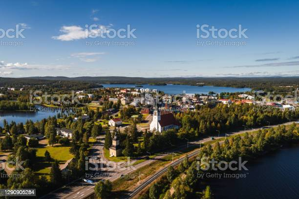Photo of View of Kemijärvi city from the air, Finland