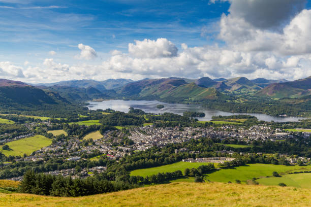 View of Keswick and Derwent Water from Latrigg, Cumbria, UK stock photo
