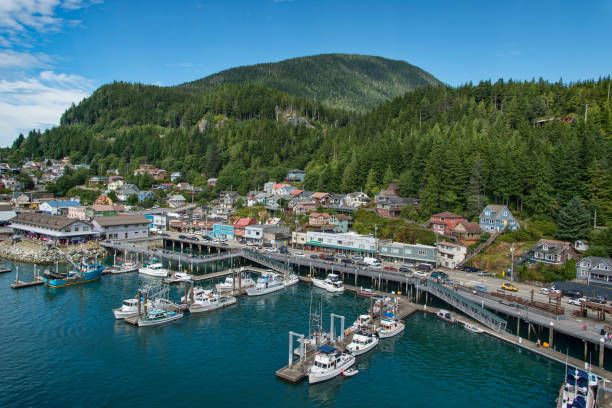 View of Ketchikan, ,Alaska View of Ketchikan, Alaska, harbor and city location amongst the hills ketchikan stock pictures, royalty-free photos & images