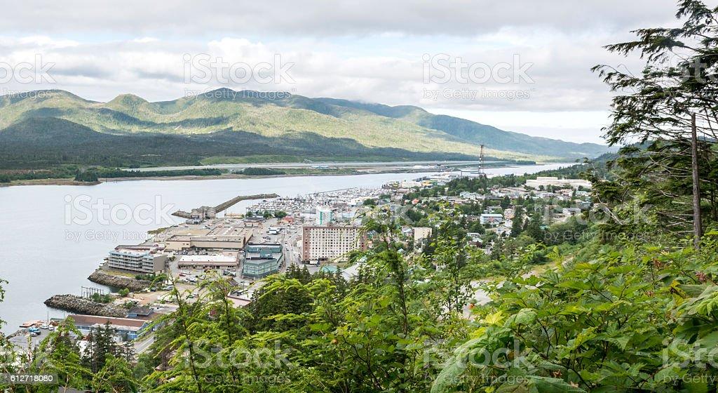 View of Ketchikan from Rainbird Trail stock photo