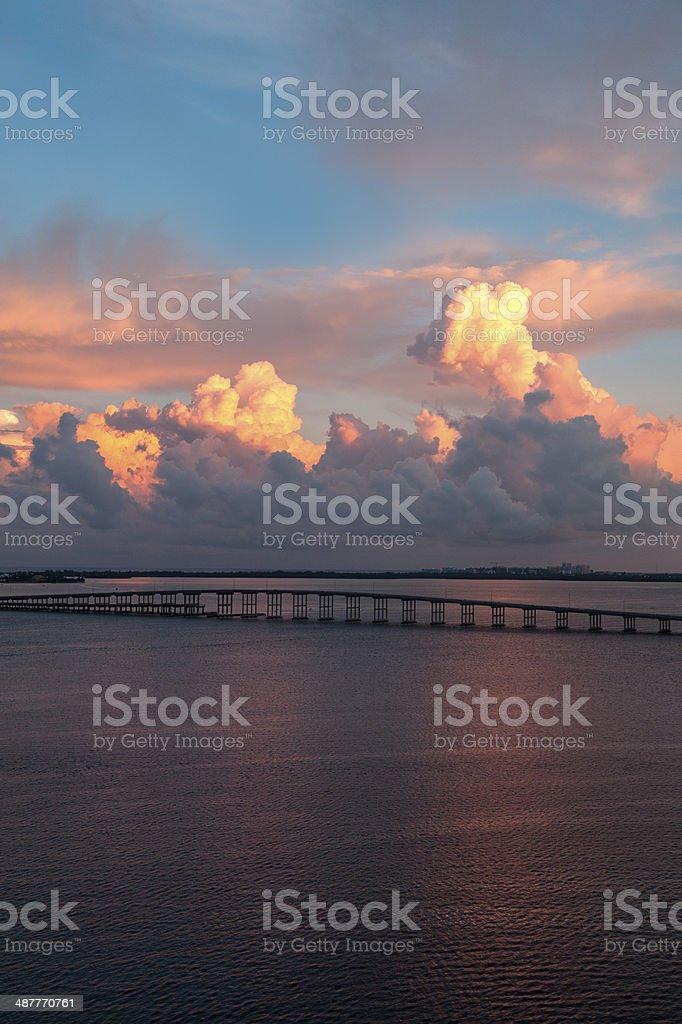 View of Key Biscayne Beach Bridge stock photo