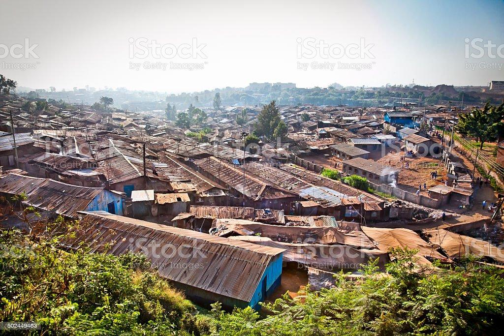 View of Kibera slums in Nairobi, Kenya. stock photo