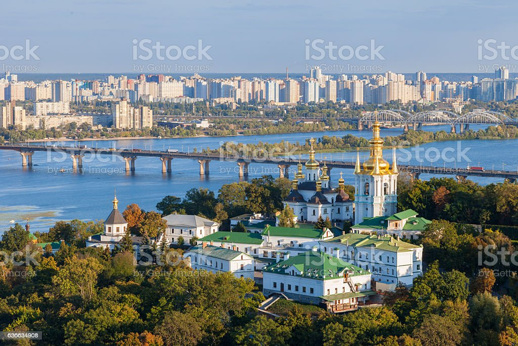 View of Kiev Pechersk Lavra and Dnepr river. Kiev, Ukraine. royalty-free stock photo