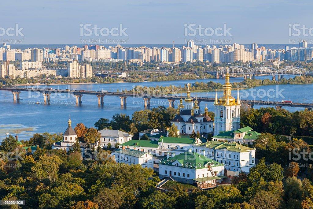 View of Kiev Pechersk Lavra and Dnepr river. Kiev, Ukraine. stock photo