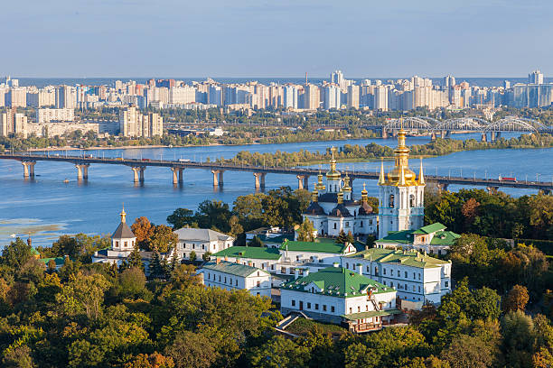 view of kiev pechersk lavra and dnepr river. kiev, ukraine. - ucrania fotografías e imágenes de stock