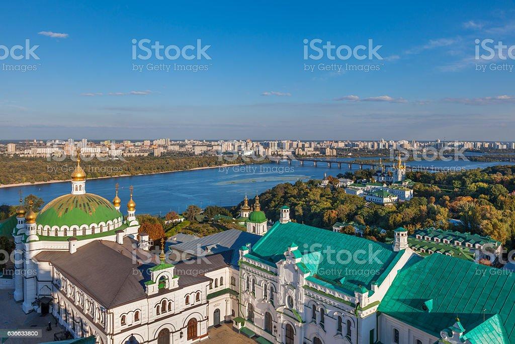 View of Kiev Pechersk Lavra, Orthodox Monastery and Dnepr river. stock photo