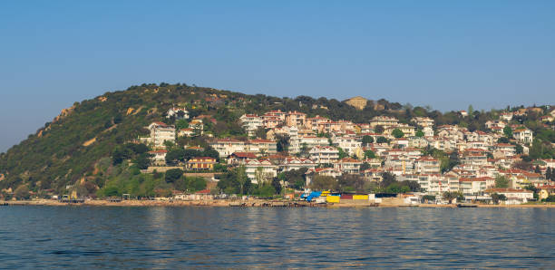 View of Kinaliada island from the sea with summer houses from the Sea of Marmara near Istanbul, Turkey stock photo