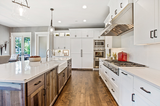 Brown and white colors throughout this kitchen and home