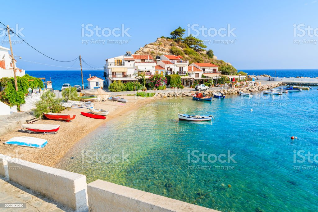 A view of Kokkari fishing village with beautiful beach, Samos island, Greece stock photo